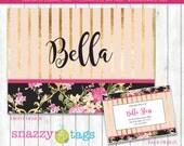 Laminated Luggage Tag | Personalized Bag Tag | Floral Luggage Tag | Shabby Chic Tag | Monogrammed Tag | Pink Gold Bag Tag | Custom Bag Tag