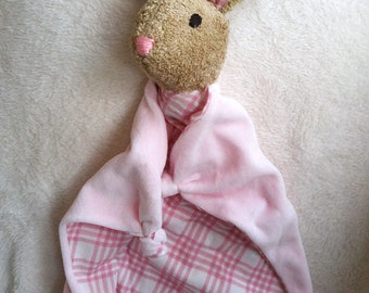 Baby Bunny Blanket , All Natural Materials,  Pink