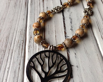 Silver Tree of Life Necklace with Picture Jasper Beads