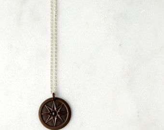 Compass Star Necklace / Brass Compass Pendant / Mixed Metal Jewelry / Sterling Silver Necklace Amazonite Stone / Nautical Star
