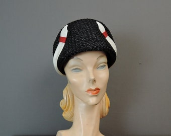 Vintage 1960s Hat Black Straw with White & Red Trim by Sally Victor, fits 23 inch head