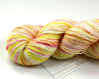 Peach Schnapps--hand dyed sock weight yarn, merino and silk single ply, (438yds/100gm)