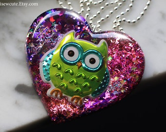 Owl Necklace, Resin Glitter Heart, Huge Pendant Necklace, Sour Apple Green Pink Purple Necklace, One of a Kind Necklace Handmade by isewcute