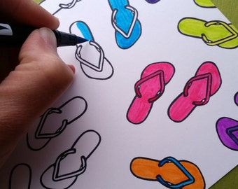 Summer Shoes (Set of Two) - Hand Carved Rubber Stamps