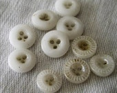 Lot of 10 Tiny Diminutive ANTIQUE 3 Hole Pie Crust & Plain White China BUTTONS