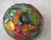 Large VINTAGE Iridescent Textured Glass BUTTON