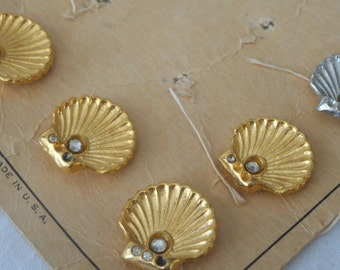 Set of 5 VINTAGE Rhinestone Accent Fan Shell Gold & a Silver Metal BUTTONS