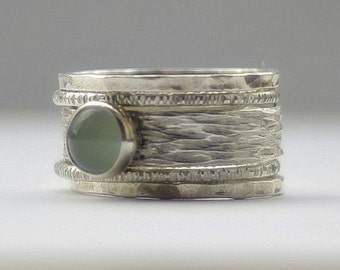 Unique Aquamarine rustic, earthy, hammered recycled sterling silver stackable wedding ring set, engagement bands March Birthstone Rings