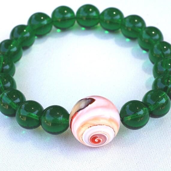 Green Czech Glass Wrist Mala Bracelet with Shell - Green Yoga Beads - Meditation Prayer Beads