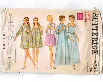 1970s Vintage Sewing Pattern Butterick 5534 Misses Negligee Lingerie Nightgown Bed Jacket Robe Size 12 Bust 34 70s