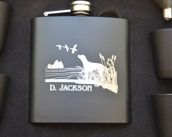 Personalized Engraved Flask Gift Set, Custom Father's Day Gift, Dad's Birthday, Retirement Gift, Hunters Gift, Twelve Different Designs