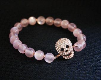 Rose Gold Crystal Skull and Pink Cat's Eye Stackable Bling Bracelet