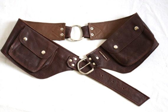 leather pocket belt medium large leather utility belt