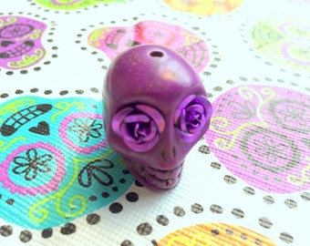 Gigantic Purple Howlite Skull Bead or Pendant  with Purple Rose Eyes