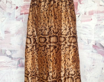 Quilted Snake Skin Maxi Skirt 70s