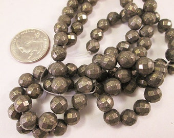 Pyrite Beads, 8mm Faceted Round Bead, Iron Pyrite Beads, Gold Pyrite Bead, 0.8mm Small Hole, 7.5 Inch Strand, QTY 1 - gm436