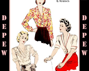Vintage Sewing Pattern Reproduction Ladies' Blouses 1940's #3044 - INSTANT DOWNLOAD