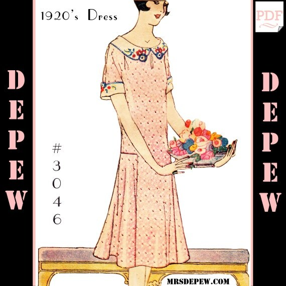 1920s Patterns – Vintage, Reproduction Sewing Patterns  1920s Short Sleeve Dress #3046 -INSTANT DOWNLOAD $11.50 AT vintagedancer.com