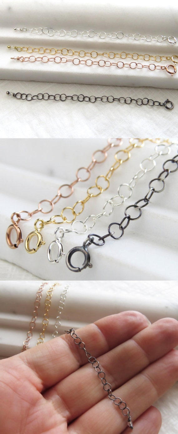 Necklace Extender • Yellow Gold • Rose Gold • Silver • Black • Lengthen Necklace • Longer Necklace • Perfect For Layering Necklaces