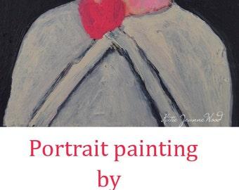 Acrylic Woman Portrait Painting. Original Art Painting. Woman & Pink Heart Love Painting. Home Wall Decor