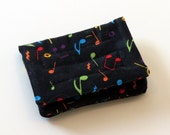 Mini Wallet with Credit Card slots and zipper Coin pocket - Musical Notes - fabric