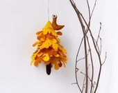 Yellow Tree with owl, Ornament to hang, Miniature felt fir tree ,Christmas decorations Christmas tree ,