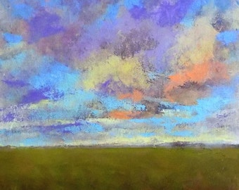 Oil Painting Original Landscape Modern Abstract Sky Cloud Field Art by J Shears