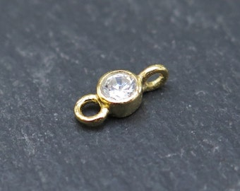 Gold Vermeil Cubic Zirconia Connector 8.75mm (CG8308)