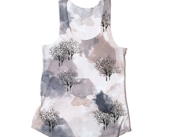 SALE - Women's Tank top T shirt,  Racer Back Tank top, Camouflage tee, Yoga tank, Tree print