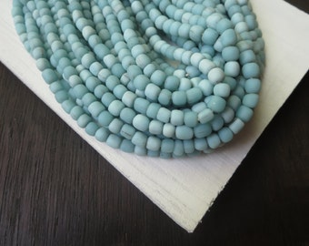 Small blue seed glass beads Opaque matte turquoise  spacer tube barrel Modern Indo-pacific  - 3 to 6  mm  - 22 inches strand  /  6a14-29