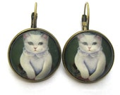 Cat Earrings Lever Back Glass Dome Earrings -  White Victorian Cat Kitty