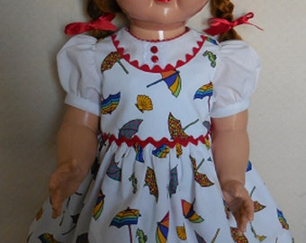 "For 22"" Ideal Saucy Walker Doll- Dress of Pique Inspired by Original"