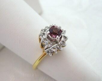 Vintage 14 Kt Gold Electroplate Ring Rhinestone Amethyst Crystal Size 8