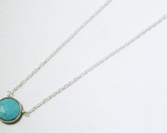 Real Turquoise Necklace Silver Bezel Necklace Genuine Turquoise Jewelry December Birthstone One of a Kind BZ-P-105-Turquoise/s