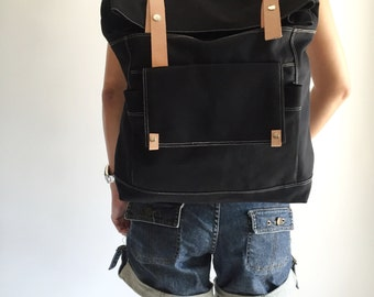 SALE 30% - Black canvas backpack , Leather canvas backpack , Gift for her , Back to School , laptop unisex backpack - no.105 ALLISON