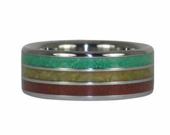 Bob Marley Stone Reggae Titanium Ring
