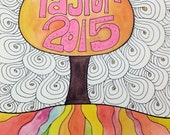 """Custom Graduation Present Watercolor and Ink Painting Drawing  9"""" x 12""""  Wall Art"""