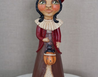 Sweet Vintage Inspired Hand Sculpted Witch in Red with Black Kitten in Pumpkin Bucket - OOAK Collecbtible Halloween Folk Art Doll