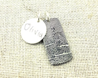 Fingerprint - Personalized Necklace - Jewelry -  Memorial Jewelry - Fingerprint Jewelry - Personalized - Handwriting Jewelry