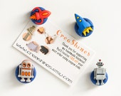 Spaceship Rocket Robot Magnets. Fun Gift for Boys, Men, Tech Nerds in Blue Glitter Clay. Home Office, Kitchen, Kids Room School. Set of 4