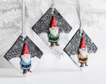 Garden Gnome Ornaments on a Snowy Hill. Christmas Holiday Gift Set of 3 Ornaments in Black Clay. For Him, For Her. Perfect for Gnome Lovers