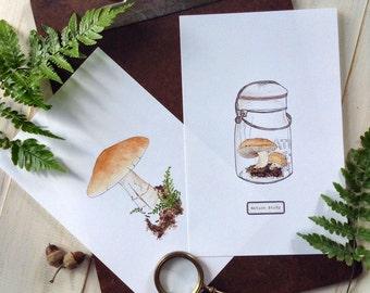 "Nature Study Mushroom Prints - Small - Digital - Printable PDF - 5"" x 7"""