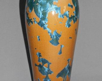 papaya & teal crystalline glazed porcelain vase
