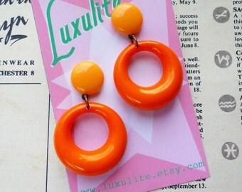 Sassy n simple! Sweater girl drop hoop earrings in Orange - handmade 50s style by Luxulite