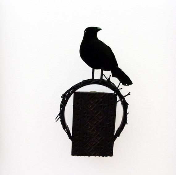Black Raven Watch Headband - Head Piece / Raven Black Bird - Crow, Faux Spikes, Dark Romance Head Band / Halloween Headpiece / Made-To-Order