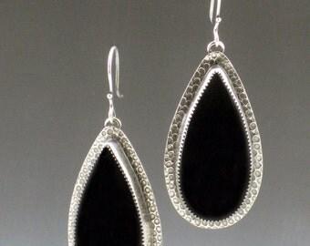 Black Onyx Earrings, dangle earrings, sterling silver, bohemian earrings, boho earrings, large onyx earrings, large black earrings