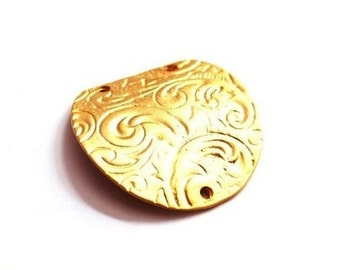 2 pcs- Matte Gold plated with rustic,oval pendant, connector - 38x38mm (025-028)