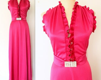 70s LILLI DIAMOND Dress / 1970s Halter Dress / Raspberry Ruffle Maxi Dress