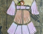 Broken China Mosaic  - Pink Dress- Mixed Media Art - Picture - Inspired from a real dress