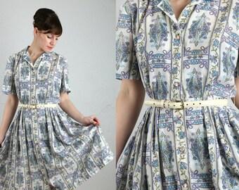 Vintage Shirtwaist Dress . Paisley Print